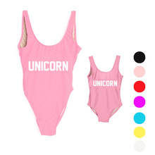 UNICORN Swimwear Women High Cut Sexy Swimsuit One piece Letter Kids Bathing Suits Bodysuits Print Child Beach wear Pink Black