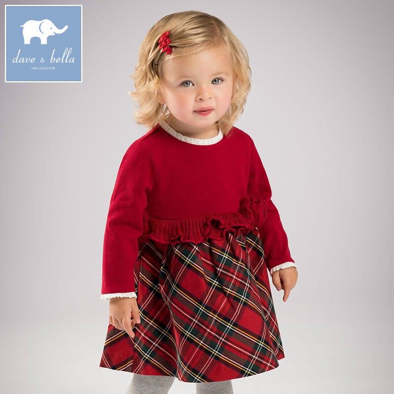 DB6078 dave bella autumn baby Princess girl Wedding Birthday dress Children plaid Clothes Infant Designs GIRLS Vestido<br>