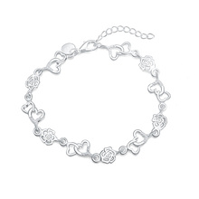 Beautiful hot women bracelet HEART lovely FLOWER chain fashion Wedding Party Silver cute lady nice bracelet jewelry LH009(China)