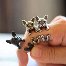 New Fashion 3 color Vintage antique Hippie Chic Dog open size Ring Cute Animal Ring factory price fine Jewelry(China)