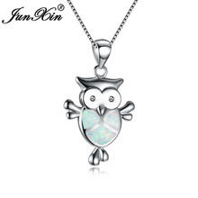 JUNXIN Cute 925 Sterling Silver Filled Animal Jewelry Mystic Ocean Blue/White Fire Opal Owl Pendants & Necklaces For Women Gifts(China)
