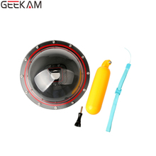 GEEKAM Optical Sphere Glass Lens Hood Cover filter Under Water Waterproof Floating Ball Case for Go pro Hero 4 Accessories