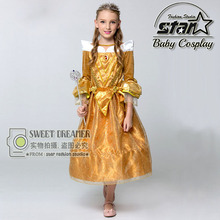 Children 2016 Fantasia Vestidos Kids Girls Custom Made Beauty And The Beast Cosplay Costume Carnival Belle Princess Luxury Dress