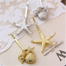 Free shipping! silver nice color star shell Bride hairwear Jewelry Claws Hairgrips women girl gift hair jewelry hairband(China)