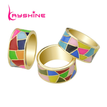 Kayshine  Brand Jewelry Gold-Color with Candy Color Enamel Geometric Pattern Round Finger Ring for Women