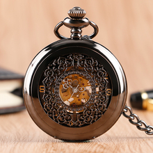 Retro Stylish Hollow Mechanical Black Pocket Watch Luxury Skeleton Pendant Classic Carving Vintage Clock For Gift