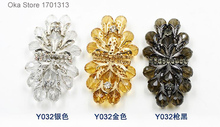 1pc High grade 4cm*8.1cm Rhinestones Flower buttons for windbreaker fur coat decoration leather buckle buttons with Rhinestones