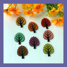 40pcs Leaf-shaped Buttons 2 Holes Wooden Buttons Sewing Buttons Craft Scrapbooking Clothing Accessories Drop shipping 32*25mm(China)