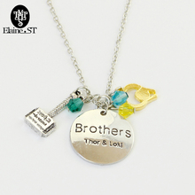 Fantasy  Movie Thor Necklaces Brothers Thor &Loki Letter Necklace Yellow Helmet Blue Crystal Beads Pendant Necklaces For Fans