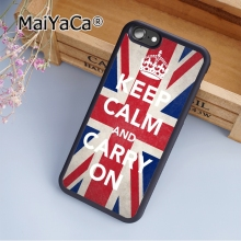 MaiYaCa KEEP CALM AND CARRY ON British Flag Soft Rubber cell phone Case Cover for iPhone 5 5S SE phone cover shell(China)