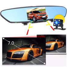 "3G Car Camera 7""Touch Android GPS DVR Car Video Recorder WIFI Dual Lens Rearview Mirror Dash Cam Car DVRs(China)"