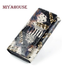 Miyahouse Ostrich Leather Wallet Women Long Design Card Holder Lady Purse Clutches Genuine Leather Crocodile Wallet Female(China)