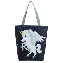 Cartoon Unicorn Canvas Tote Handbag Women Animal Unicorn Printed Shoulder Bag Female National Beach Bag for Lady Girl 27*38*11cm(China)