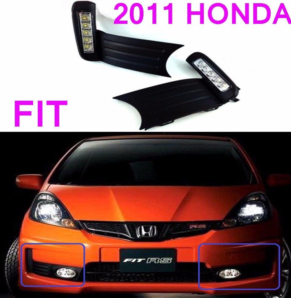 2008 2009 2010year,Fit daytime light,Jazz,chrome,LED,Free ship!2pcs,car-detector,Fit fog light<br><br>Aliexpress