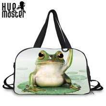 HUE MASTER frog pattern large capacity student duffle bags shoes pocket design multi-purpose duffle bags leisure travel handbags