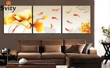 "Hand-painted Group Oil Painting picture print on canvas 3 Panel Wall Art Painting Golden lotus ""nine fish print On Canvas(China)"
