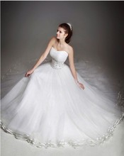 Custom Made Women Nice Newest Attractive Overlay Organza Beading Crystals Waist Bridal Wedding Gowns