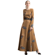 Buy DF Luxury Vintage Wool Jacquard O-Neck Autumn Winter Dress OL British Style Party Night Maxi Clothing Muslim Dresses 6320 for $74.69 in AliExpress store