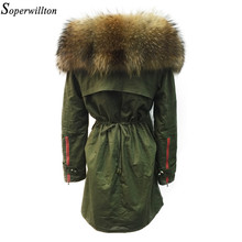 Soperwillton New 2017 Winter Jacket Women Real Large Raccoon Fur Collar Thick Loose size Coat outwear Parkas Army Green #A050(China)