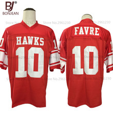 2017 New Cheap Brett Favre 10 Hancock Hawks High School Red American Football Jersey Throwback Embroidered Mens Shorts(China)