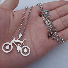 12pcs/lot Link Chain 50cm Fashion Men Stainless Steel Bicycle Pendant Necklace Jewelry