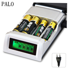 Palo C905W 4 Independent Charging Slots LCD Smart Intelligent Charger For AA AAA NiCd NiMh Rechargeable Batteries US EU Plug(China)