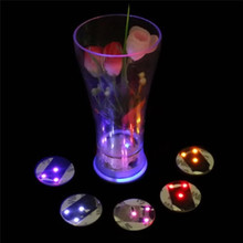 Oobest LED Flashing Light Bulb Bottle Cup Mat Led Coaster Color Changing Light Up For Club Bar Home Party Use