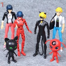 TOFOCO 6PCS/Set Miraculous Ladybug and Cat Noir Juguetes Toy Doll Lady Bug Adrien Marinette Plagg Tikki Plastic PVC Figures
