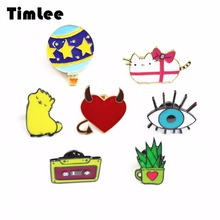 Timlee X204 Cartoon Alpaca Aloe Vera Vintage Magnetic tape Cute Cat Eye Planet Design Metal Brooch Pins Gift Wholesale(China)