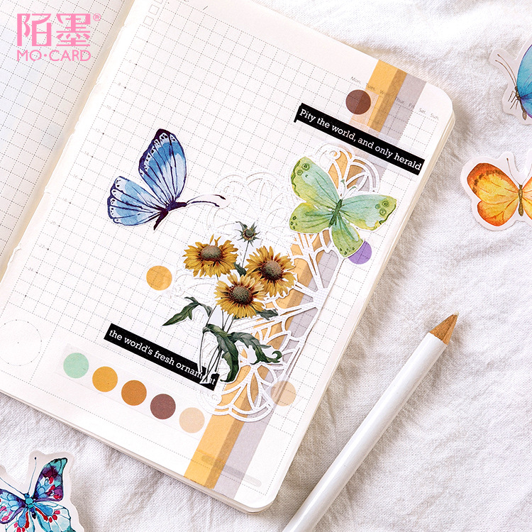 45pcs/pack Lovely Butterfly Label Stickers Set Decorative Stationery Craft Stickers Scrapbooking Diy Diary Album Stick Label