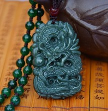 Natural Real HeTian Jadee Carved Dragon Lucky Amulet pendants Dark green jadee Pendant  Fashion Jewelry with rope