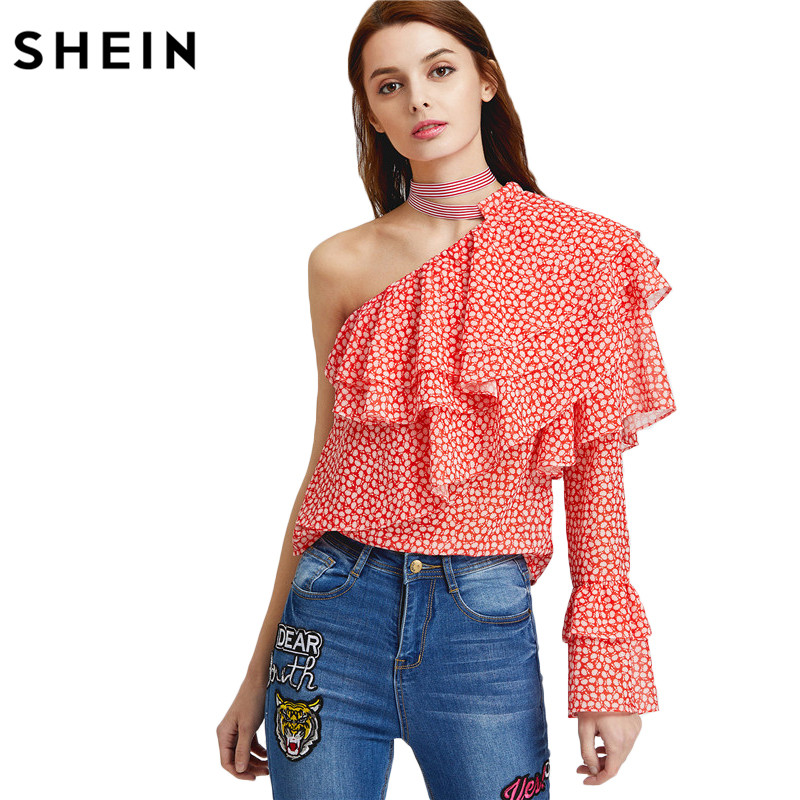 SHEIN Sexy Women Blouses Woman's Fashion 2017 Summer Boho Blouse Ladies One Shoulder Dot Print Layered Ruffle Top(China (Mainland))