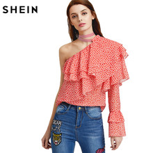 SHEIN Sexy Women Blouses Woman's Fashion 2017 Summer Boho Blouse Ladies One Shoulder Dot Print Layered Ruffle Top(China)