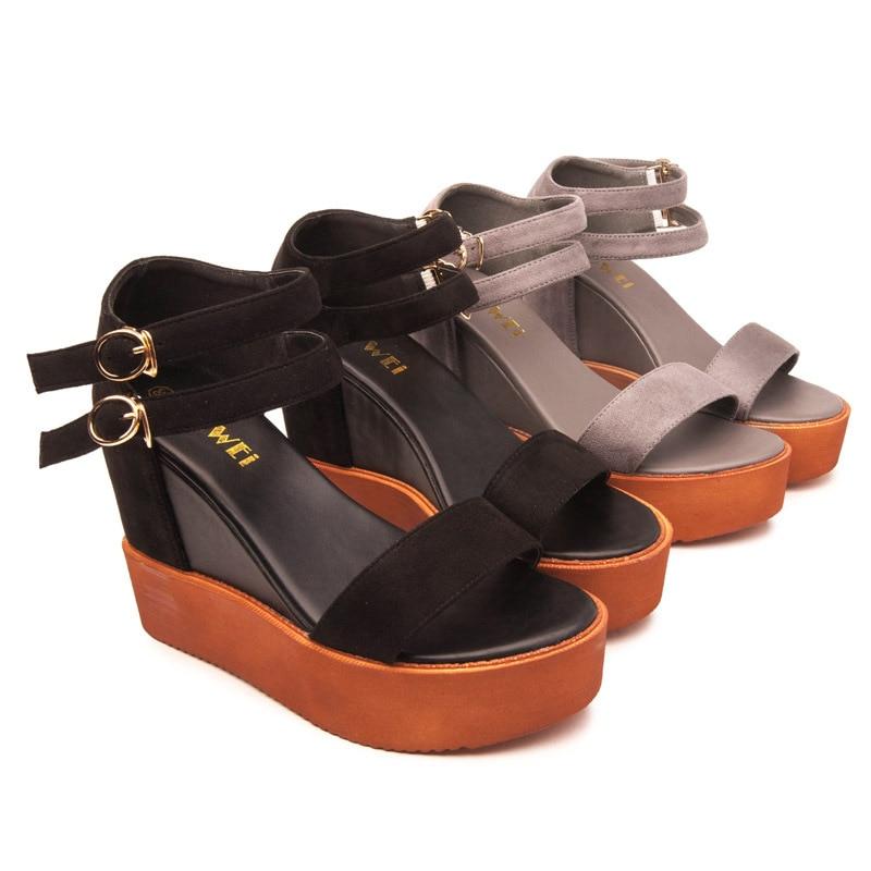 2017 Summer Black High Heeled Platform Sandals Casual Cross-Strap Wedge Heel Open Toe Shoes<br><br>Aliexpress
