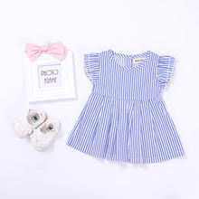 2017 New Cute Baby Kids Girls Blue Striped Princess Dress Tops Summer Crew Neck Costume 0-24M(China)