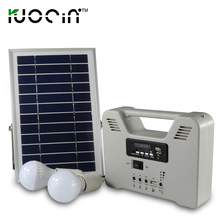 New Style Portable Small Emergency 6w Solar Power Home Lighting Rechargeable Battery Solar System With 2set Bulb FM Radio