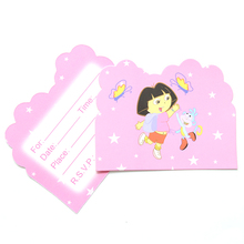 10pcs/lot Dora Cartoon Theme Party Paper Invitation Card Birthday Party Decorations Kids Baby Shower Supplies Party Favors(China)