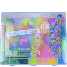 4200 unids Weaver rainbow colored rubber band bracelets DIY handmade gifts gift box  knitting machine