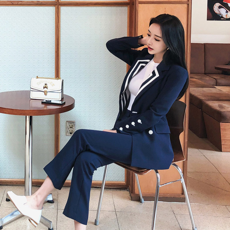 New fashion summer autumn women OL professional temperament  office lady blazer slim pants two-piece suit set