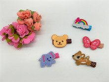 20pcs Fashion Cute Embroidery Bear Butterfly Elephant Deer Rainbow BB Hairpins Solid Kawaii Animal Girls Hair Clips Hairware