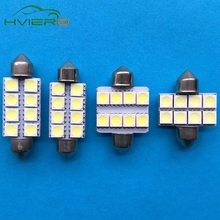 Hviero 2pcs Low Energy Bright 31MM 36MM 39MM 41MM 8 SMD 8smd 5050 LED Car Dome C5W Interior Festoon Light Lamp Bulb White DC 12V