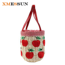 Summer Beach Bag Straw Picnic Bucket Basket Bag Handmade Red Apple Embroidery Woven Women Travel Handbags Designer Hand Bags C90(China)