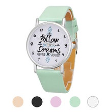 Hot sale !! Famous simple and casua watch Women Follow Dreams Words Pattern Leather fashion Watch Free Shipping NA24