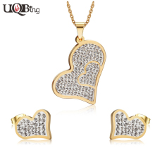 Fashion Unique Design Stainless Steel Crystal Jewery Sets Gold-color Heart Necklaces Earrings For Valentine's Day Gifts(China)