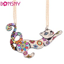 Bonsny Cat Necklace Acrylic Pattern 2017 News Collar Pendant Accessories Animal  Fashion Jewelry Famous Brand Unique