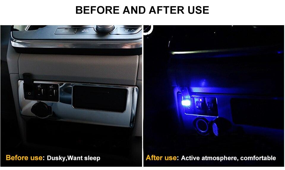 Mini Wireless Car Atmosphere Light LED USB Night Light Cigarette Lighter Decorative Lights Car Styling Truck PC Laptops Kit (3)