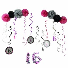 24pcs/set 16th Birthday Party Decor DIY Decoration For Birthday Party Supplier (pompom , Spiral, confetti) For Home Decorations
