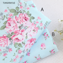 40*50cm choose color 100% cotton fabric Victoria blue roses bedding cloth DIY for Sewing patchwork cushion quilting fabrics(China)