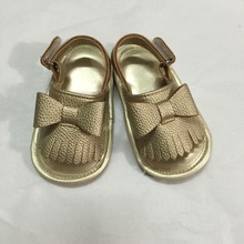 Summer shoes Girl Boys Solid Christening Party Baby Shoes Infant Hot Sale Fringe Birthday Blue PU Moccasins baby sandals(China)
