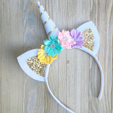 Animal Unicorn Headband Gold Hairbands with cat Ear Flower Party Gift hair Clips Girls Accessories para peinados for Hairstyles